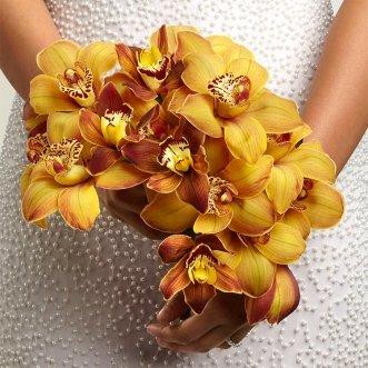 Букет невесты из орхидей «Золотая орхидея»