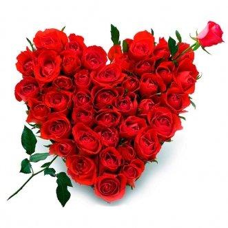 Сердце из 45 красных роз