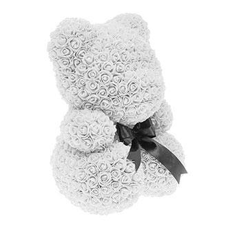 Мишка из роз 40 см белого цвета