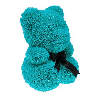 Мишка из роз 40 см голубого цвета